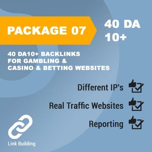 Package 07_40 DA10+ Backlinks for Gambling & Casino & Betting Websites-promotionset